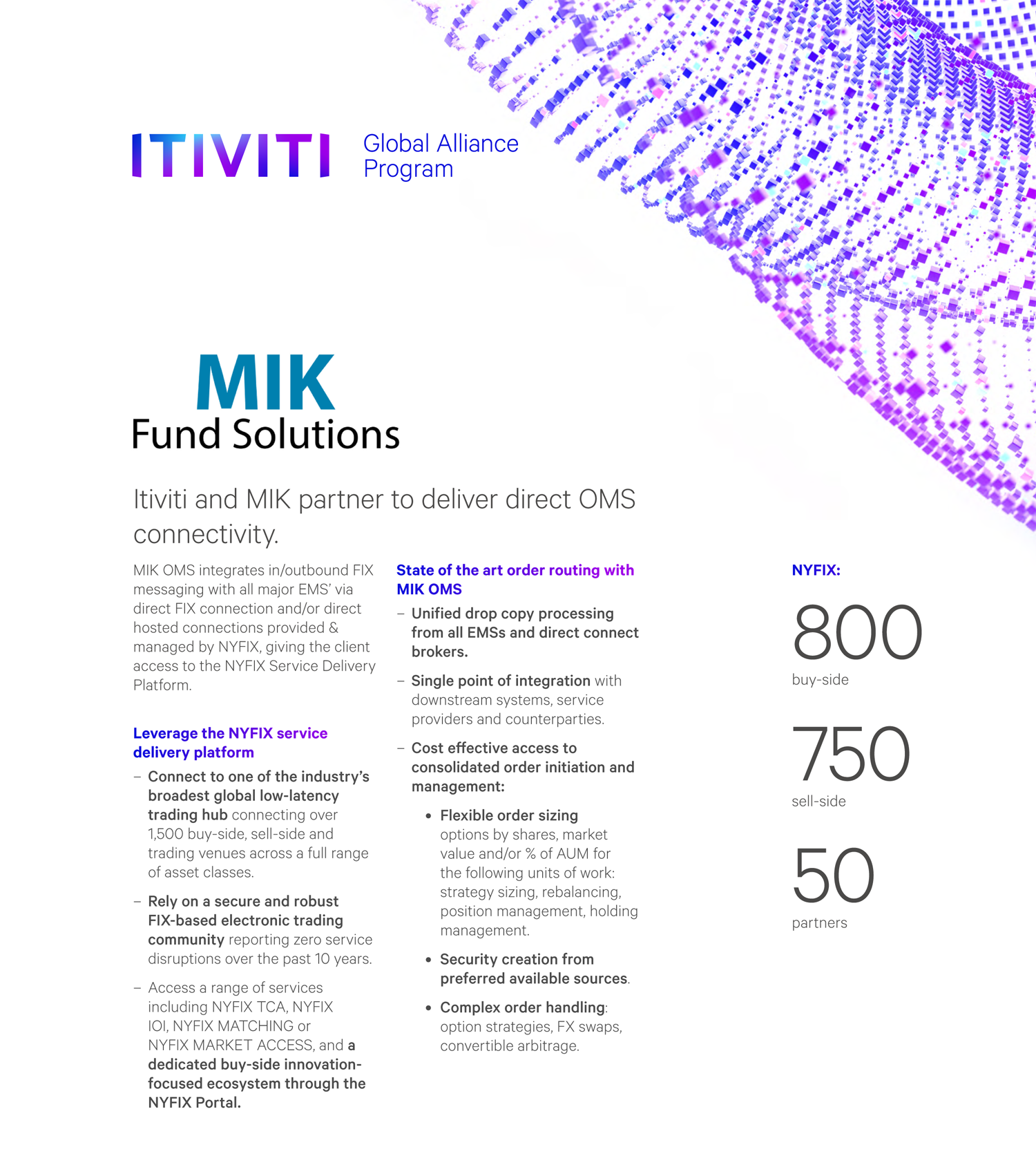 Itiviti and MIK partner to deliver direct OMS connectivity